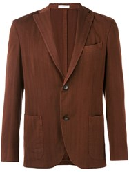 Boglioli Patch Pocket Blazer Men Cupro Wool 52 Brown