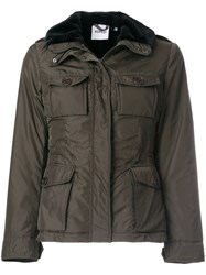 Aspesi Fur Trimmed Military Jacket Polyamide Polyester S Green