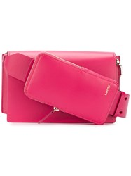 Lanvin Logo Embossed Crossbody Bag Pink And Purple