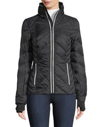 Blanc Noir Zip Front Quilted Puffer Jacket With Reflective Trim Black