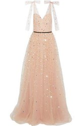 Monique Lhuillier Woman Bow Embellished Sequined Tulle Gown Blush