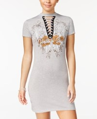 Material Girl Juniors' Lace Up Graphic T Shirt Dress Only At Macy's Heather Grey