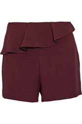 Sandro Plaisir Ruffle Trimmed Stretch Jacquard Shorts Red