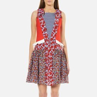 Msgm Women's Floral Rose Dress Red Multi Red Multi