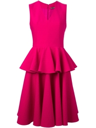 Alexander Mcqueen Pleated Peplum Dress Pink And Purple
