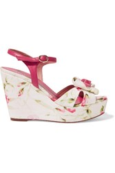 Red Valentino Redvalentino Leather Trimmed Printed Canvas Wedge Sandals Multi