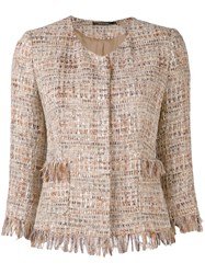 Tagliatore Fitted Woven Blazer Women Cotton Acrylic Polyamide Viscose 44 Nude Neutrals