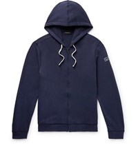 Ermenegildo Zegna Loopback Stretch Cotton Jersey Zip Up Hoodie Navy