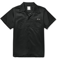 Visvim Irving Camp Collar Embroidered Satin Twill Shirt Black
