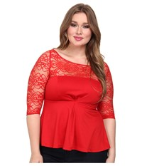Kiyonna Illusion Ponte Peplum Top Red Women's Long Sleeve Pullover