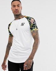 Sik Silk Siksilk T Shirt In White With Floral Contrast Sleeves