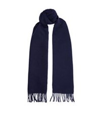 Sandro Double Face Cashmere Wool Scarf Blue