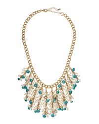 Lydell Nyc Crystal Beaded Fringe Bib Necklace Turquoise