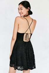Kimchi And Blue Strappy Back Shiny Lace Mini Dress Black