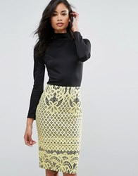Club L High Neck Detailed Dress With Bonded Lace Skirt Black Yellow