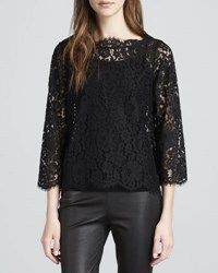 Joie Elvia Scalloped Lace Blouse Caviar
