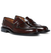 Ami Alexandre Mattiussi Burnished Leather Penny Loafers Burgundy