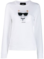 Karl Lagerfeld Cat Jumper White