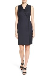 T Tahari Women's Dolce Asymmetrical Seam Pinstripe Front Sheath Dress Navy