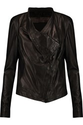 Donna Karan New York Asymmetric Leather Jacket Black