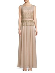 Cachet Sleeveless Embellished Popover Gown Apricot