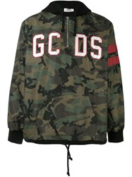 Gcds Embroidered Logo Camouflage Hoodie Green