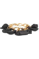 Moschino Gold Tone And Coated Metal Charm Bracelet One Size