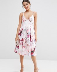 Asos Strappy Midi Prom Dress In Lilac Floral Multi