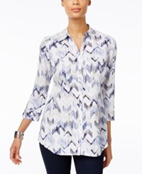 Jm Collection Printed Roll Tab Blouse Only At Macy's Indigo Chevron