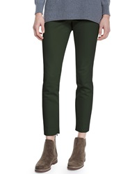 Loro Piana Devin Skinny Ankle Pants Juniper Dark Green