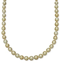 Macy's Pearl Necklace 14K Gold Golden South Sea Pearl Oval Strand 10 12Mm