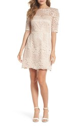 Chelsea 28 Chelsea28 Ruched Sleeve Lace Dress Pink Blush