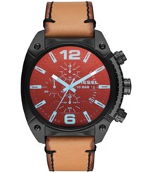 Diesel Overflow Brown Leather Strap Watch 49Mm No Color