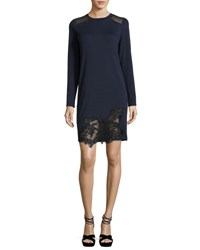 Elie Tahari Zuma Long Sleeve Lace Trim Shift Dress Blue Black Blue Black