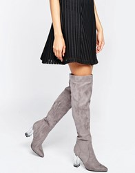 Daisy Street Clear Heeled Over The Knee Boots Stone Mf
