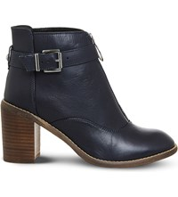 Office Lottie Front Zip Smart Boots Navy Leather