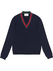 Gucci Wool V Neck Sweater With Web Men Wool M Blue