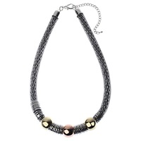 Adele Marie Snake Chain Beads Necklace Silver