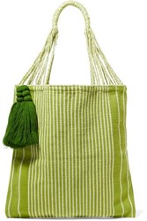 Nannacay Bianca Tasseled Striped Crocheted Cotton Blend Tote Chartreuse
