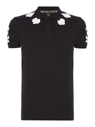 Replay Men's Stretch Pique Polo Shirt With Patches Black