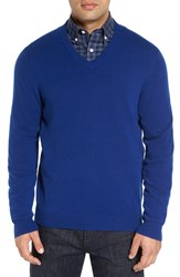 Nordstrom Men's Big And Tall Men's Shop Cashmere V Neck Sweater Blue Estate