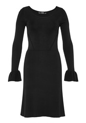 Hallhuber Knit Dress With Flounce Sleeves Black