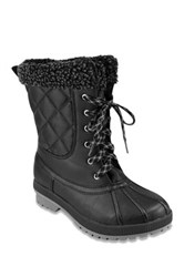 London Fog Swanley Faux Shearling Trim Cold Weather Boot Black