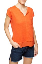 Sanctuary Petite Women's 'City Mix' Layered Look Tee Tiger Lily