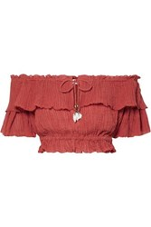 Zimmermann Veneto Cropped Off The Shoulder Crinkled Ramie And Cotton Blend Gauze Top Brick
