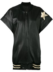 Faith Connexion Star Patch Bomber Gilet Women Calf Leather Acrylic Polyamide Metallized Polyester M Black