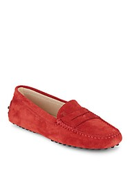 Tod's Italian Leather Moc Toe Loafers Orange