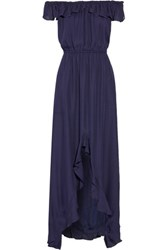 L'agence Yves Off The Shoulder Ruffled Silk Maxi Dress Midnight Blue