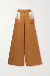 Miguelina Pamela Belted Fringed Linen Wide Leg Pants Tan