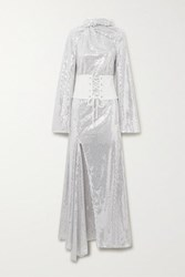 Ellery Fernando Belted Sequined Tulle Maxi Dress Silver